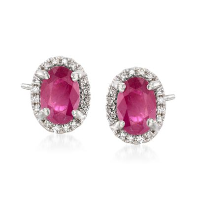 1.10 ct. t.w. Ruby Stud Earrings with Diamond Accents in 14kt White Gold