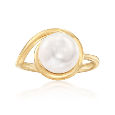 9-10mm Cultured Pearl Loop Ring in 14kt Yellow Gold, , default