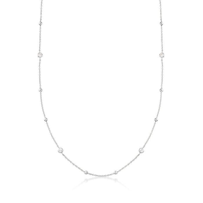 1.15 ct. t.w. Bezel-Set CZ Station Necklace in Sterling Silver, , default