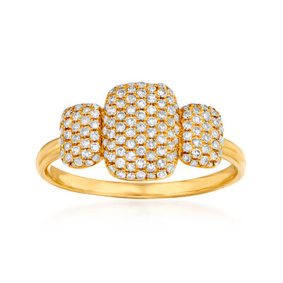 .44 ct. t.w. Pave Diamond Three-Square Ring in 14kt Yellow Gold, , default