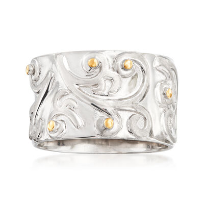 Sterling Silver Wide Scroll Ring with 14kt Yellow Gold