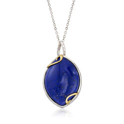 Marquise Lapis Pendant Necklace in Sterling Silver With 14kt Yellow Gold, , default
