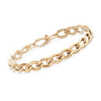 Italian 14kt Yellow Gold Marquise Link Bracelet, , default