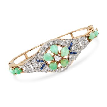 """C. 1970 Vintage Green Jade and 1.40 ct. t.w. Diamond Bangle Bracelet With Synthetic Sapphires in 14kt Gold. 6.5"""", , default"""