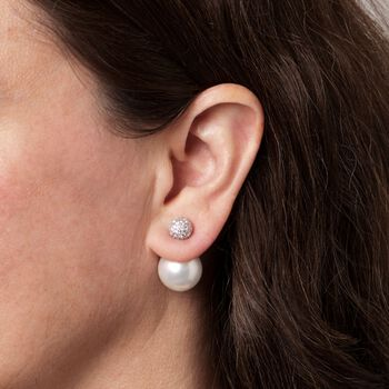 15.5-16.5mm Shell Pearl and 1.85 ct. t.w. CZ Front-Back Earrings in Sterling Silver, , default