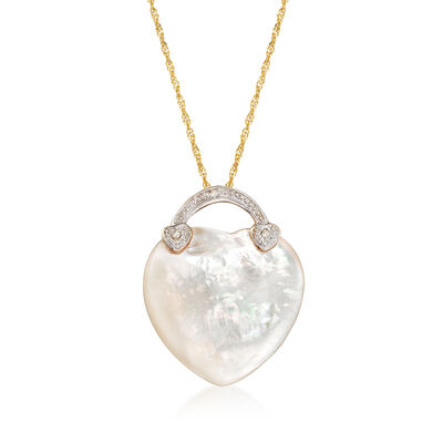 Mother-Of-Pearl Heart Necklace in 14kt Yellow Gold, , default
