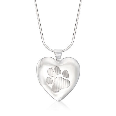 Sterling Silver Paw Print Heart Locket Necklace, , default