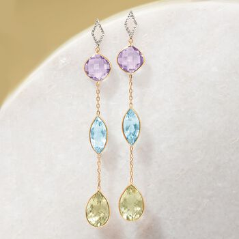 24.50 ct. t.w. Multi-Stone Drop Earrings in 14kt Two-Tone Gold, , default