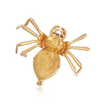 C. 1970 Vintage 18kt Yellow Gold Spider Pin With Garnet Accents, , default