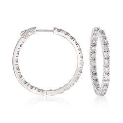 """4.00 ct. t.w. CZ Hoop Earrings in Sterling Silver. 1 1/4"""", , default"""