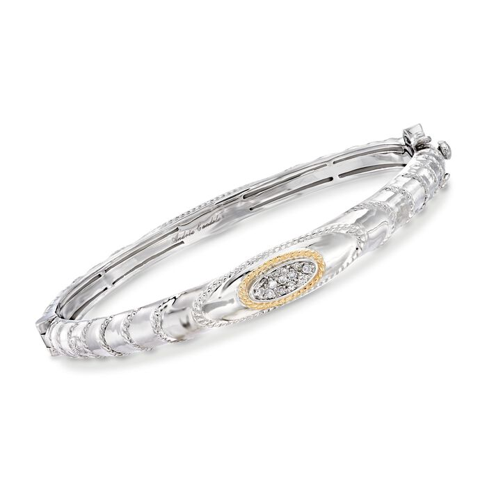 "Andrea Candela ""Eco"" .15 ct. t.w. Diamond Bangle Bracelet in 18kt Yellow Gold and Sterling Silver"