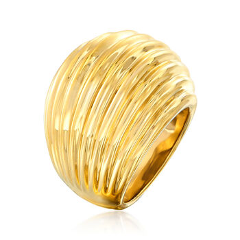 14kt Yellow Gold Ribbed Dome Ring. Size 7, , default