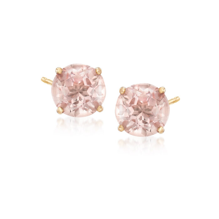 "3.00 ct. t.w. Pink ""Morganite"" Topaz Post Earrings in 14kt Yellow Gold, , default"