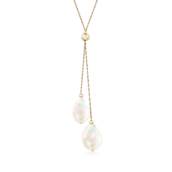 Cultured Pearl Drop Necklace in 14kt Yellow Gold