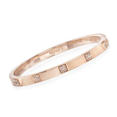 """Swarovski Crystal """"Tactic Thin"""" Bangle Bracelet in Rose Gold Plate, , default"""