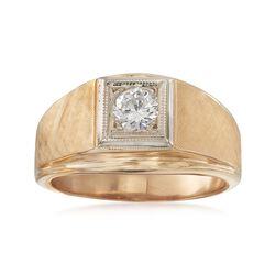 C. 1970 Vintage Men's .50 Carat Diamond Ring in 14kt Yellow Gold. Size 10.5, , default