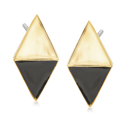 Via Collection Goldtone Kite-Shaped Earrings With Black Enamel, , default