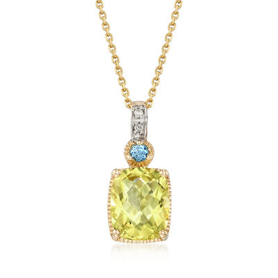 2.6 ct. t.w. Lemon Quartz Necklace in 14kt Yellow Gold, , default