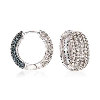 2.00 ct. t.w. White and Blue Diamond Reversible Hoop Earrings in Sterling Silver, , default