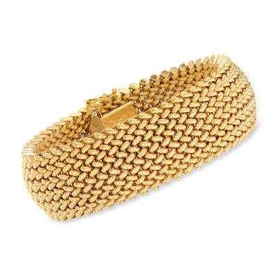C. 1980 Vintage 18kt Yellow Gold Weave Bracelet
