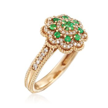.14 ct. t.w. Emerald and .22 ct. t.w. Diamond Ring in 14kt Yellow Gold, , default