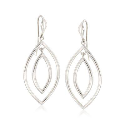 "Zina Sterling Silver ""Contemporary"" Double Teardrop Earrings, , default"