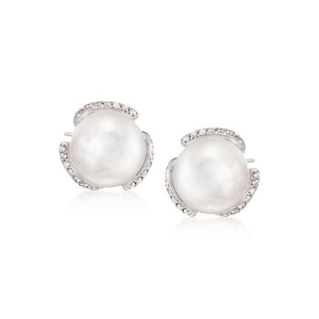 Mikimoto 8mm A+ Akoya Pearl and .16 ct. t.w. Diamond Stud Earrings in 18kt White Gold, , default
