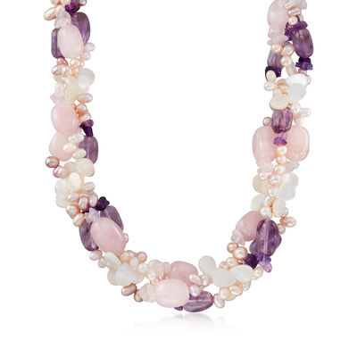 Cultured Pearl, Rose Quartz and Amethyst Torsade Necklace in Sterling Silver, , default