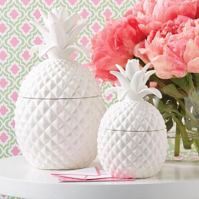 Set of Two White Ceramic Pineapple Jars, , default