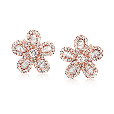 1.18 ct. t.w. Diamond Flower Stud Earrings in 18kt Rose Gold, , default