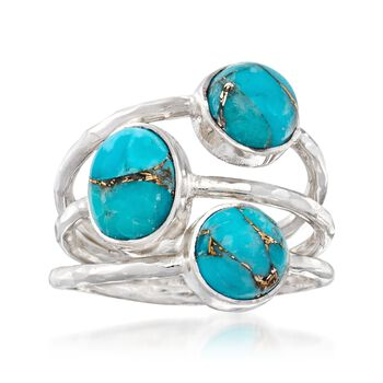 Three-Stone Turquoise Ring in Sterling Silver, , default