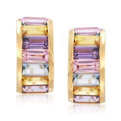 C. 1980 Vintage 6.40 ct. t.w. Multicolored Synthetic Spinel Earrings in 18kt Yellow Gold, , default