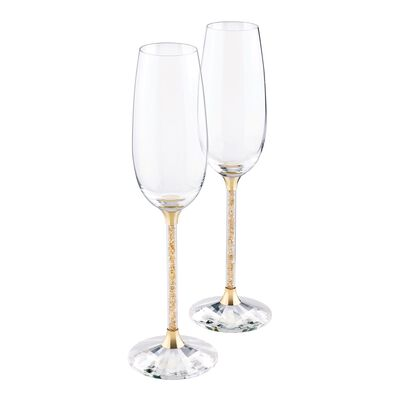 "Swarovski Crystal ""Crystalline"" Set of Two Golden Shadow Crystal Toasting Flutes"