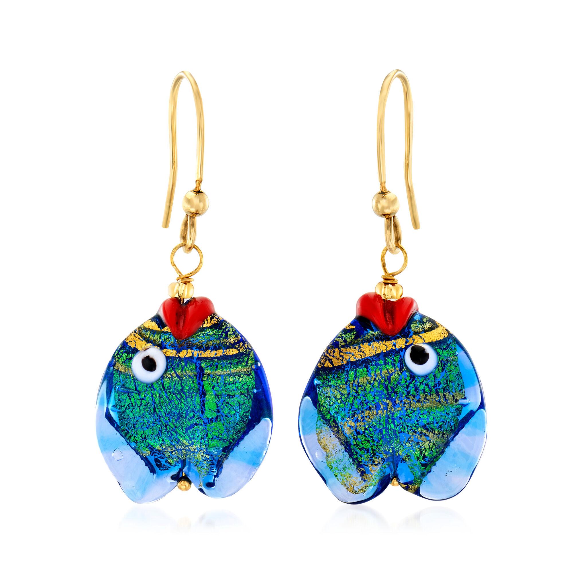 Sterling Silver Blue /& Gold Color Italian Murano Earrings