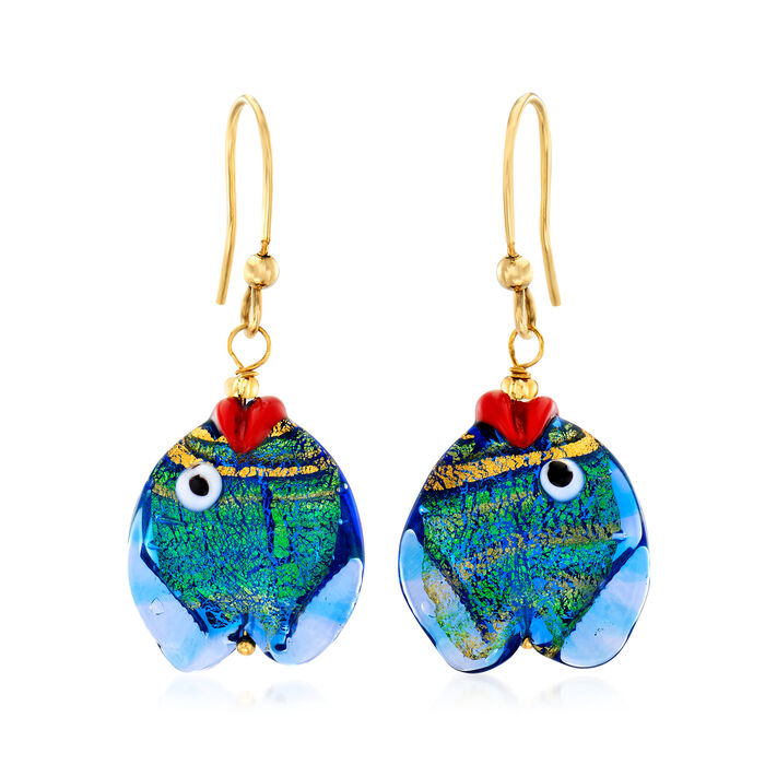 Italian Multicolored Murano Glass Fish Drop Earrings with 18kt Gold Over Sterling, , default