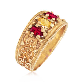 C. 1980 Vintage .55 ct. t.w. Synthetic Ruby and Yellow Sapphire Ring in 10kt Yellow Gold. Size 7.5, , default