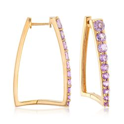"1.70 ct. t.w. Amethyst Graduated Square Hoop Earrings in 18kt Yellow Gold Over Sterling Silver. 1 1/8""., , default"