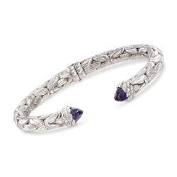 """Italian 5.00 ct. t.w. Amethyst Byzantine Cuff Bracelet in Sterling Silver. 7"""", , default"""