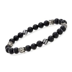 "Men's 8-8.5mm Black Onyx Bead and Sterling Silver Buddha Head Stretch Bracelet. 8"", , default"
