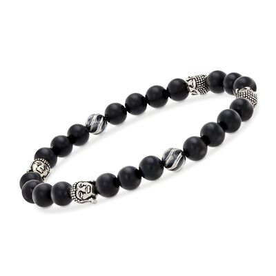 Men's 8-8.5mm Black Onyx Bead and Sterling Silver Buddha Head Stretch Bracelet, , default