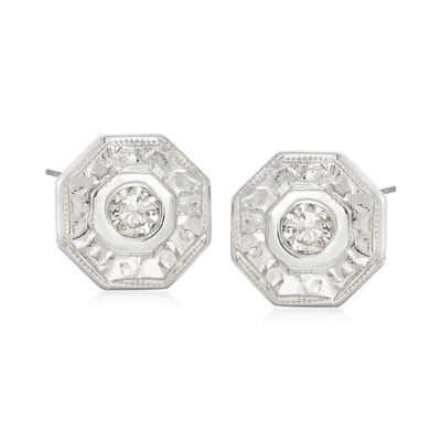 C. 1960 Vintage .11 ct. t.w. Diamond Octagonal Earrings in 14kt White Gold, , default