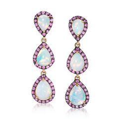Opal and 1.40 ct. t.w. Pink Sapphire Drop Earrings in 14kt Yellow Gold, , default
