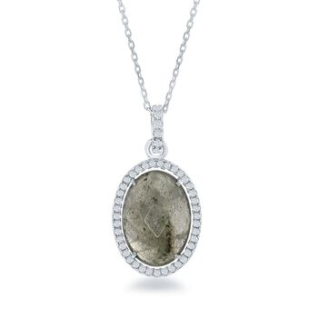 "Labradorite and .50 ct. t.w. CZ Pendant Necklace in Sterling Silver. 18"", , default"