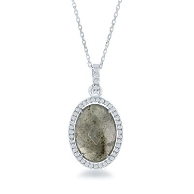 Labradorite and .50 ct. t.w. CZ Pendant Necklace in Sterling Silver, , default
