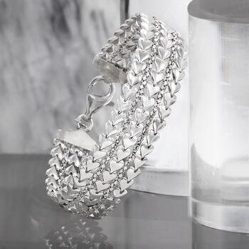 Italian Sterling Silver Multi-Row Heart Bracelet, , default