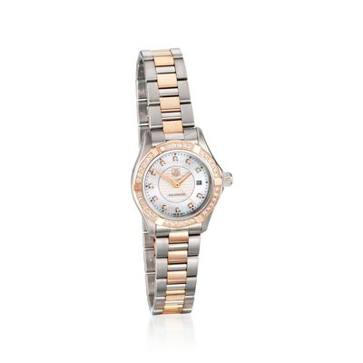 TAG Heuer Aquaracer Women's 27mm .48 ct. t.w. Diamond Watch in Stainless Steel and 18kt Rose Gold, , default