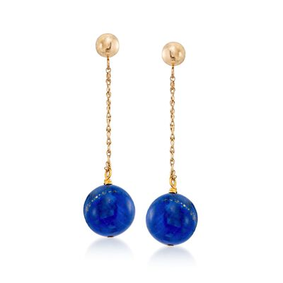 10mm Lapis Bead Drop Earrings in 14kt Yellow Gold, , default