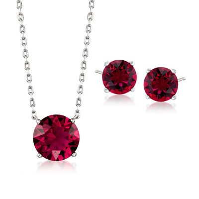 Jewelry Set: Ruby Red Swarovski Crystal Necklace and Earrings in Sterling Silver, , default