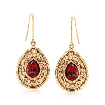 4.30 ct. t.w. Garnet Floral Scroll Drop Earrings in 14kt Yellow Gold, , default