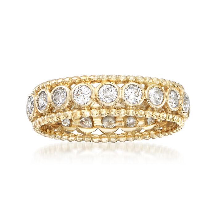 1.00 ct. t.w. Bezel-Set Diamond Eternity Ring in 14kt Yellow Gold